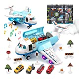 Toy Airplane Plane Toy with Smoke, Sound and Light, Fricton Powered Airplane with Mini Cars, Birthday Gift for 2+ Year Old Boys and Girls