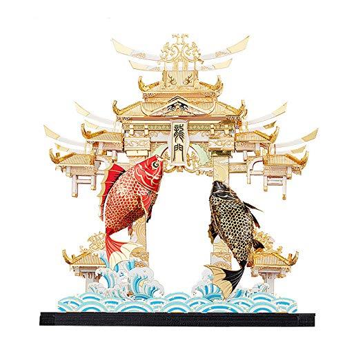 ZCRFYY Metall dreidimensionales Puzzle 3D-Modell chinesische Art High-End-Ornamente College-Geschenk Fisch springen Drachentür Modell Montage handgemachte DIY inspirierende Geschenk,Model a
