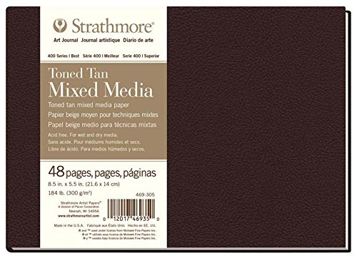 Strathmore 469-305 Hardbound Mixed Media Art Journal, 8.5' x 5.5', Toned Tan, 48 Pages