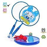 Jieling Badminton Racket Set for Boys Gifts Kids Mini Tennis Racquet Birdy Toy Birdie Badmitton Racquets Led...