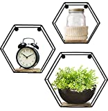 Greenco GRC2934 Geometric Hexagon Shaped Mounted Floating, Home Decor, Metal Wire and Rustic Wood Wall Storage Shelves for Bedroom, Living Room, Bathroom, Kitchen and Office – Set of 3, 3 Count