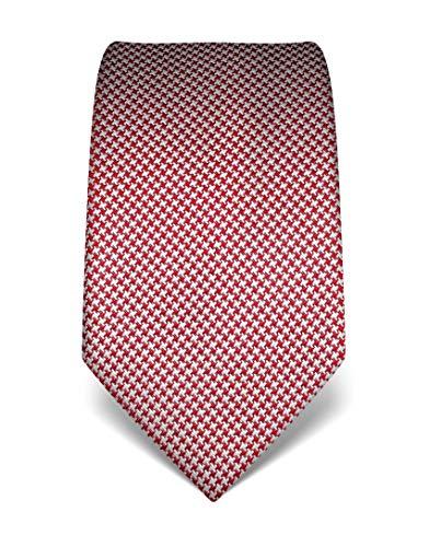Vincenzo Boretti Herren Krawatte reine Seide Hahnentritt Muster edel Männer-Design zum Hemd mit Anzug für Business Hochzeit 8 cm schmal/breit weiß/weinrot