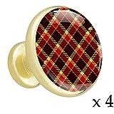 Rotbraune Gitter-Schrägstreifen Schubladenknöpfe Gold Metall Schranktür Knöpfe Griffe mit Kristallglas für die Tür der Kommode Schrank Kleiderschrank Bad zieht (4 Stück) 3.2x3x1.7cm