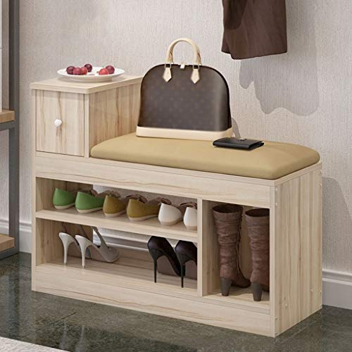 Wood Shoe Storage Bench 2-Tier with Drawer Hallway Storage Shelf Cabinet Shoe Bench Seat Storage Organiser for Entryway Living Room 60X30X62CM (Color : Wood+Yellow, Size : 80cm)