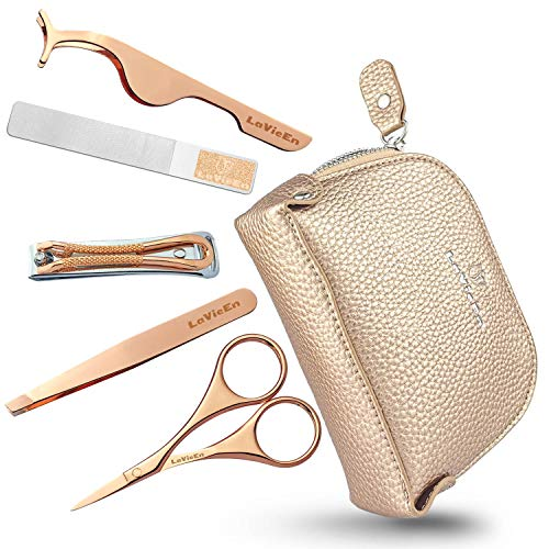 LaVieEn Manicure Set for Women & Girls with Luxury Leather Case, Professional Nail Care & Eyebrow Care Tools Great Gifts for Women & Girls (COCO)