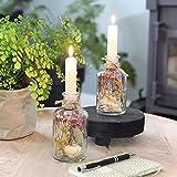Trockenblumen im Glas mit Kerzen, Trockenblumen Set mit Vase, 2 Stück, getrocknete Blumen deko, Vase mit Blumen bunt, pflanzen im glas, flaschen Kerzenhalter, Geschenke für Frauen, ewige Blumen - 5