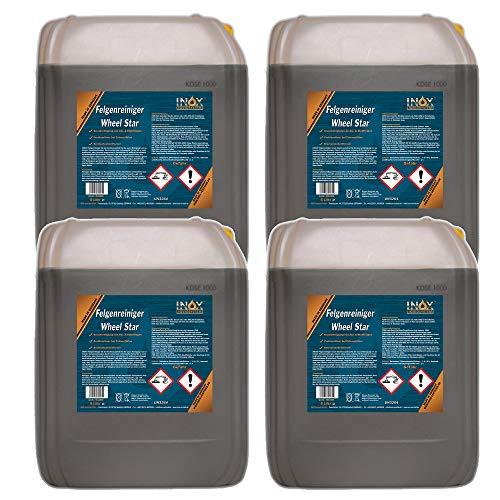 INOX® Felgenreiniger Konzentrat, 4 x 5L - Reiniger für Alufelgen und Stahlfelgen entfernt starke Verschmutzungen wie Flugrost und Bremsstaub