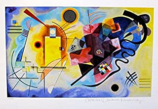 Leos Coffers Art by Wassily Kandinsky Yellow, Red & Blue Estate Signed Small Limited Edition Giclee Print. After The Original Painting or Drawing. Paper 11 Inches X 15.5 Inches