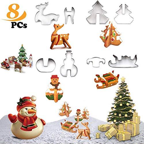 WELLXUNK Navidad Cortadores de Galletas, Moldes para Galletas de Acero Inoxidable(Árbol de Navidad, Muñeco de...