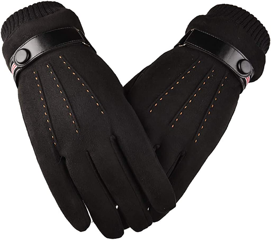 GREFER Mens Winter Warm Gloves, Fashion Faux Suede Touchscreen Gloves Windproof Mittens