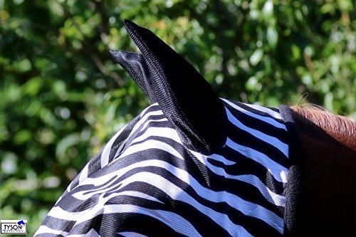 Zebra Fliegenmaske Fliegenschutzmaske Fliegenhaube mit oder ohne Ohren Mini Shetty MS S P VB WB X Full Tysons mit leichtem Gummizug (MIT Ohren, X- Full)