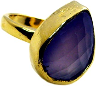 Pear Shaped Genuine Purple Chalcedony Gold Plated Rings for Women Birthday Gift Size 4-12