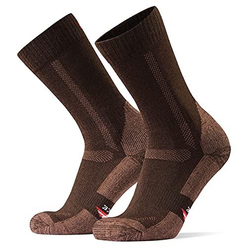 HIKING SOCKS メリノウール登山用靴下, ハイキング, トレッキング、アウトドア, 暖かい, 男女兼用, 秋, 冬, (3ペアセット or 1ペア) (オークブラウン1ペア, 22.0 - 24.5)