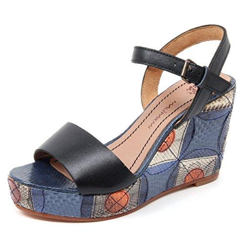 Maliparmi B4974 Sandalo Donna Zeppa Nero/Blu Geometric Whips Sandal Shoe wooman [40]