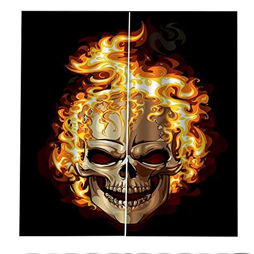 Hogar 3D Cráneo Impreso Patrón Alto Sombreado Anti-Uv Insonorizado Suave Tejido De Poliéster Cortinas De Halloween Sala De Estar Dormitorio Balcón Cortinas De La Habitación De Los Niños 2xW75xH166cm