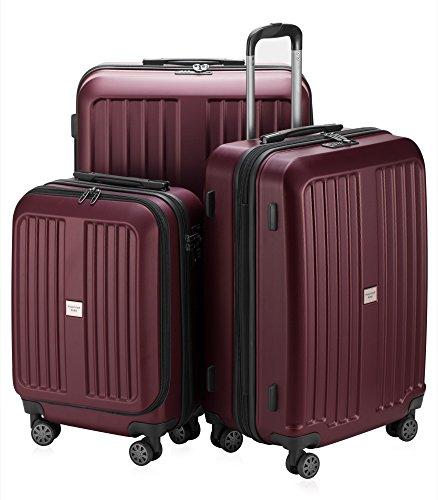 HAUPTSTADTKOFFER X-Berg - Set di 3 valigie - Bagaglio a mano, Trolley medio, Valigia grande ABS, TSA  258 litri, Borgogna