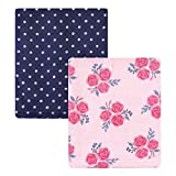 Hudson Baby Unisex Baby Coral Fleece Plush Blankets, Pink Navy Roses, One Size