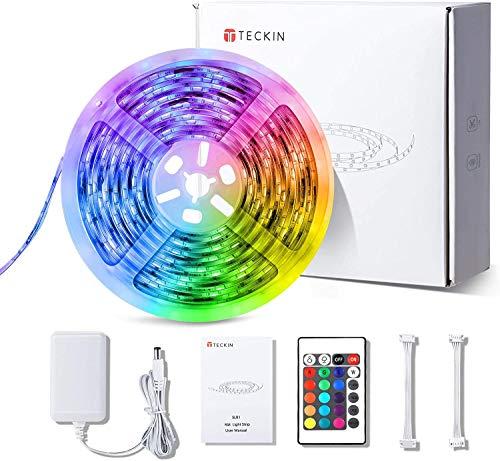 Striscia LED RGB, Strisce LED,Luci LED,TECKIN 5M LED RGB TV Retroilluminazione Luci Nastro,RGB 5050 Luce con 16 Colori,Con telecomando a infrarossi, Adatto per TV, Camera da Letto