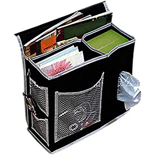 ZASILRY Sofa storage bag, Sturdy Couch Armrest Organiser Home Garden Organization Clothing Wardrobe Storage-black