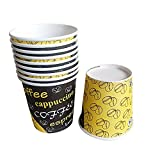 KANTA Yellow & Black Printed Paper 130 ml Disposable Glass/Cup for Party, Paper Cups for Hot & Cold Beverages (Pack of 100)