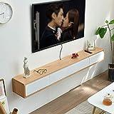 Wand-TV-Schrank mit schwimmenden Regalen, Medienkonsole mit 2 Schubladen und offenen Regalen,...