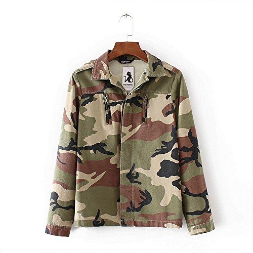 Frauen Tarnjacke Mantel, Damen Herbst Winter Street Strickjacke Outwear Casual Jacken Moginp(Camouflage, X-Large)