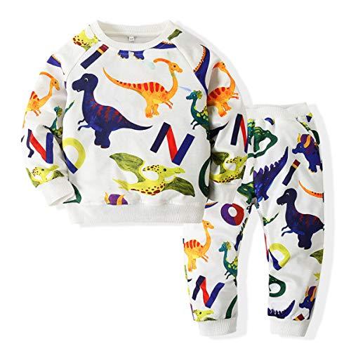 YANJJ Conjunto de 2 Piezas Pull-Over + Pantalones, Dinosaurio Imprimir, Camisetas De Los Niños De Dibujos Animados Niño Niña Unisex, Apto para 2-14 Años White-130cm