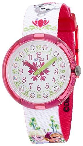 Flik Flak FLNP019 DISNEY FROZEN Uhr Mädchen Kinderuhr Stoffband Kunststoff 30m Analog weiß pink