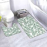 N/B Green Palm Leaves Seamless Background Bad antideslizante Alfombrilla de baño Alfombrilla antideslizante almohadilla para decoración interior Set 2 unidades personalizado