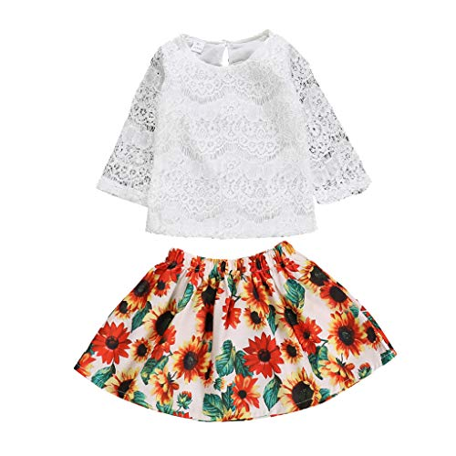 Moneycom 2 PCS Toddler Baby Girls Tops en Dentelle à Imprimé Solide + Jupes à Imprimé Tournesol Ensembles
