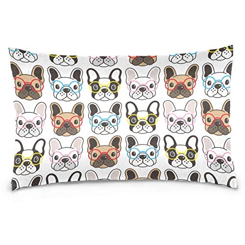 Kaariok Cute Animal Dog Glasses French Bulldog Cotton Pillowcase Standard Size Double Printed Soft Pillow Case Cover Protector with Zipper Home 20 X 26 Inches