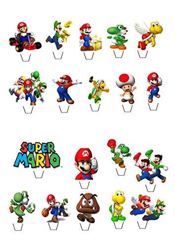 19x Super Mario aufstehen essbare Papier Cupcake Topper Kuchen Dekorationen