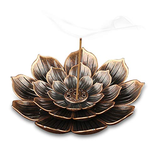 TMINCK Brass Incense Holder - Lotus Stick Incense Burner and Cone Incense Holder with Ash Catcher-4 Inch