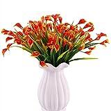 KIRIFLY Künstliche Blumen,Künstliche Pflanzen Im Freien 6er Packungen Unechte Blumen Deko Plastikblumen Gefälscht Calla-Lilie Faux Plant UV-beständig Grün für die Garten-Heimdekoration (Orange-Rot)