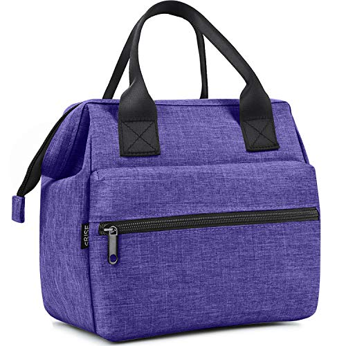 Srise Lunch Bag Insulated Lunch Box, Wide-Open Meal Prep Lunch Tote Bags Durable Nylon Snacks Organizer for Men and Women - Purple