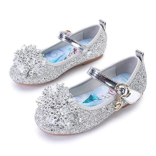 Eleasica Par de Zapatos Planos con Plantilla con Estampado de Princesa Elsa, Zapatillas de Lentejuelas para Disfraz de Princesa, Zapatos de Cristal de Cenicienta para nias de 3 a 12 aos