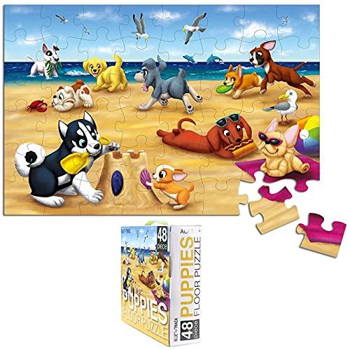 For Kids Floor Puzzles 48-Piece Giant Floor Puzzle, Puppies on The Beach Jumbo Jigsaw Puzzles for Toddlers Preschool, Toy Puzzles Ages 3-5, 58 x 88 cm
