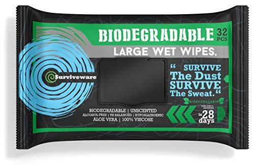 Surviveware Biodegradable Wet Wipes, Rinse-Free Shower for Post Workout and Camping, Large, 32 Count