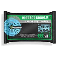 SURVIVEWARE Biodegradable Wet Wipes, Face and Body Wipes for Post Workout and Camping, Wipes for Adults, Large Wipes, 32 Count