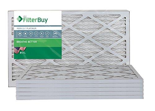 FilterBuy 14x25x1 MERV 13 Pleated AC Furnace Air Filter, (Pack of 6 Filters), 14x25x1 – Platinum