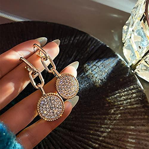 PangTuZiYin Nuevos Pendientes Colgantes Redondos de Cristal Vintage para Mujer, Pendiente de Cadena de eslabones metálicos con Borla Larga, joyería Boho para Mujer, Broncos