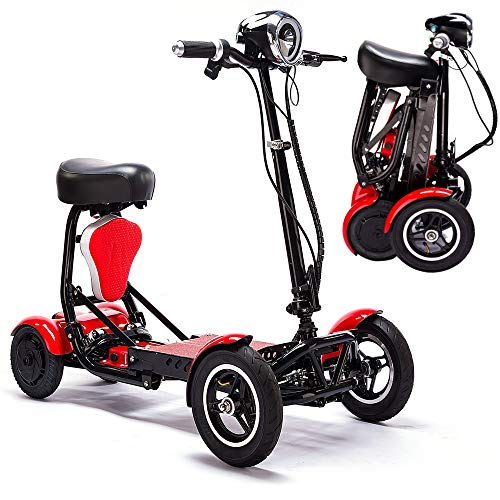 Xiaotian Electric Foldable Mobility Scooter,Lightweight Folding Power Wheelchair Handicap Scooter Drive Medical Scout Spitfire 4 Wheel Portable Travel Motor Scooters for Adults Seniors