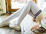 Somnus258 ホワイト 3縞 大きいサイズ とても長い 180cmの身長まで メンズ 白 対応 少女 ニーハイソックス 女装 男の娘 コスチューム 小物 レディース セクシー コスプレ 高校生 秋 冬 美足 靴下 弾力がいい 静電気防止