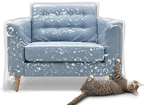 Plastic Recliner Armchair Cover for Pets | Cat Scratching Protector Clawing Deterrent | Heavy Duty Thick Clear Vinyl Chair Slipcover | Waterproof Plastic Furniture Covers for Storage and Moving