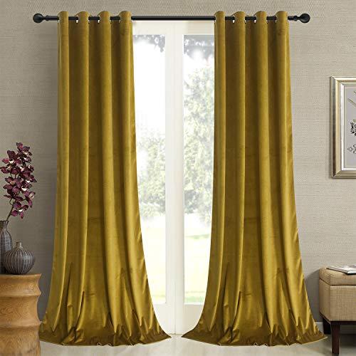 Roslywood Gold Brown Velvet Curtains 84 inches - Kids Room Velvet Privacy Drapes Light Blocking Grommet Curtains for Drawing Room/Hall, Gold Brown, 52 by 84 Inches, 2 Panels