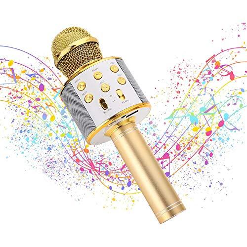 Ulikey Micrófono Karaoke Bluetooth, Micrófono Inalámbrico Bluetooth con Altavoz, Micrófono Karaoke Portátil para Niños Canta Partido Musica, Compatible con Android/iOS PC o Teléfono Inteligente (Oro)