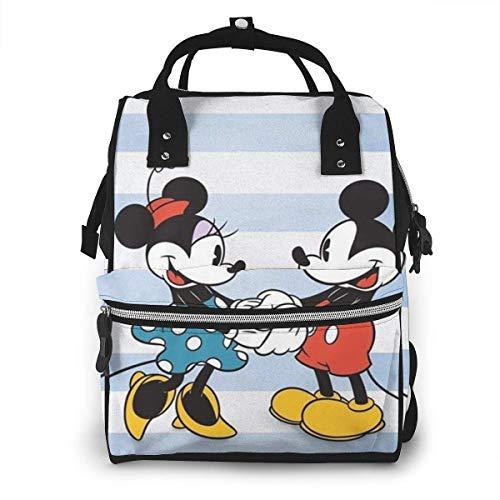 Wickeltasche Rucksack - Minnie Mouse und Mickey Multifunktions wasserdichter Reiserucksack Mutterschaft Baby Windel Wickeltaschen