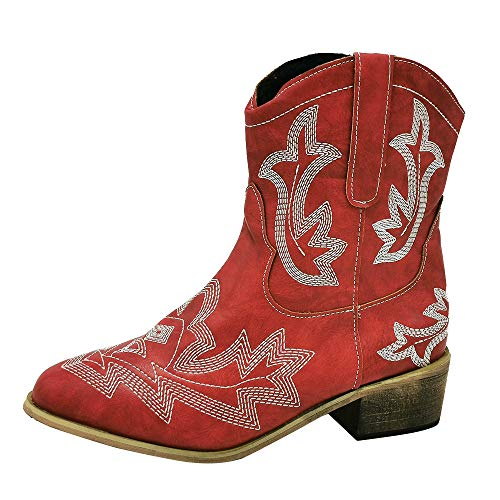 HarryHyar Women Classic Cowboy Boots Wide Calf Western Cowgirl Boots Slip on Embroidery Shoes Red Size 39 Asian