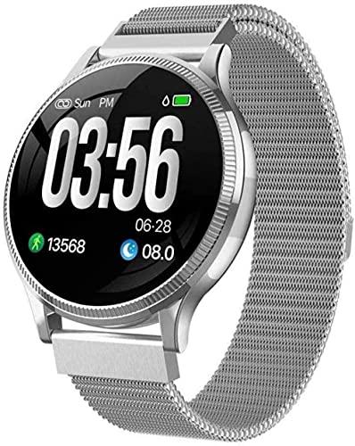 MHPO Reloj inteligente con monitor de ritmo cardíaco resistente al agua, apto para iOS, Android, iPhone, notificaciones de sueño y llamadas, color plateado