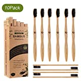 Lot de 10 Brosses à Dents en Bambou Biodégradable avec des Poils Doux Ergonomique et Vegan en...